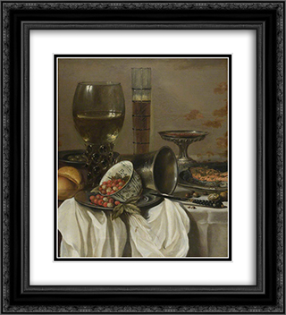 Still Life with Drinking Vessels 20x22 Black or Gold Ornate Framed and Double Matted Art Print by Pieter Claesz