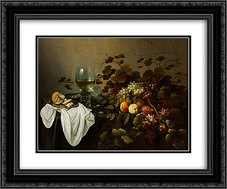 Still Life with Fruit and Roemer 24x20 Black or Gold Ornate Framed and Double Matted Art Print by Pieter Claesz
