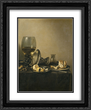 Still Life with Goblet, Silver Tureen and Bread 20x24 Black or Gold Ornate Framed and Double Matted Art Print by Pieter Claesz