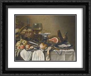 Still Life with Ham 24x20 Black or Gold Ornate Framed and Double Matted Art Print by Pieter Claesz