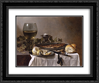 Still Life with Herring, Wine and Bread 24x20 Black or Gold Ornate Framed and Double Matted Art Print by Pieter Claesz