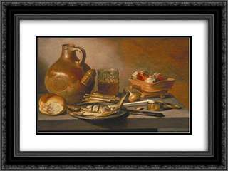 Still Life with Herring, Wine and Bread 24x18 Black or Gold Ornate Framed and Double Matted Art Print by Pieter Claesz