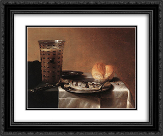 Still Life with Herring 24x20 Black or Gold Ornate Framed and Double Matted Art Print by Pieter Claesz