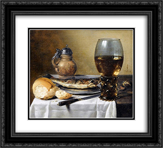 Still Life with Jug, Wine Glass, Herring and Bread 22x20 Black or Gold Ornate Framed and Double Matted Art Print by Pieter Claesz