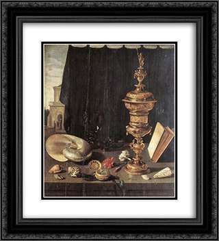 Still Life with Large Goblet 20x22 Black or Gold Ornate Framed and Double Matted Art Print by Pieter Claesz