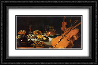 Still Life with Musical Instruments 24x16 Black or Gold Ornate Framed and Double Matted Art Print by Pieter Claesz