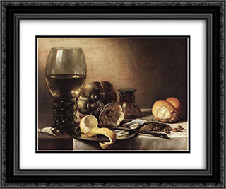 Still Life with Oysters 24x20 Black or Gold Ornate Framed and Double Matted Art Print by Pieter Claesz