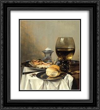 Still Life with Salt Tub 20x22 Black or Gold Ornate Framed and Double Matted Art Print by Pieter Claesz