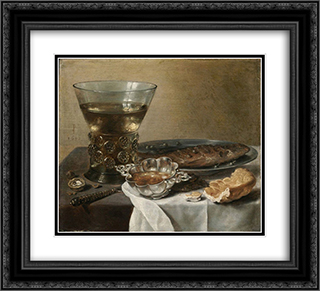 Still Life with Silver Brandy Bowl, Wine Glass, Herring and Bread 22x20 Black or Gold Ornate Framed and Double Matted Art Print by Pieter Claesz