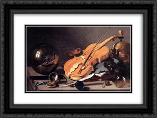 Still Life with Violin and Glass Ball 24x18 Black or Gold Ornate Framed and Double Matted Art Print by Pieter Claesz