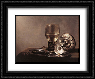 Still Life with Wine Glass and Silver Bowl 24x20 Black or Gold Ornate Framed and Double Matted Art Print by Pieter Claesz