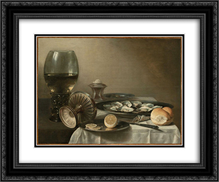 Still Life with Wine Goblet and Oysters 24x20 Black or Gold Ornate Framed and Double Matted Art Print by Pieter Claesz