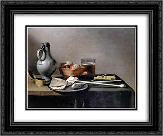 Tobacco Pipes and a Brazier 24x20 Black or Gold Ornate Framed and Double Matted Art Print by Pieter Claesz