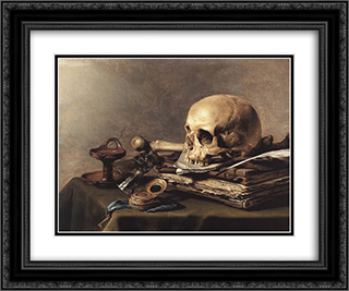 Vanitas. Still Life 24x20 Black or Gold Ornate Framed and Double Matted Art Print by Pieter Claesz