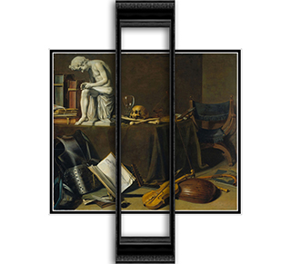 Vanitas Still-life 22x20 Black or Gold Ornate Framed and Double Matted Art Print by Pieter Claesz