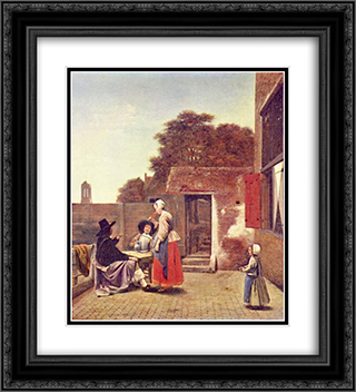 A Dutch Courtyard 20x22 Black or Gold Ornate Framed and Double Matted Art Print by Pieter de Hooch