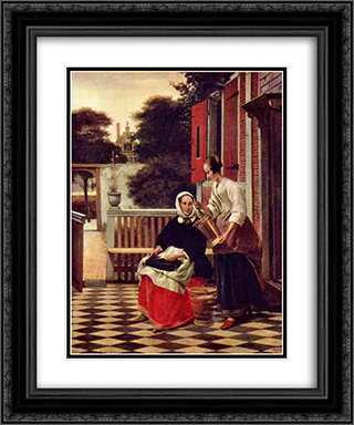 A Mistress and her Maid 20x24 Black or Gold Ornate Framed and Double Matted Art Print by Pieter de Hooch
