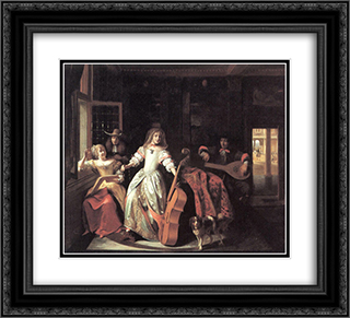 A Musical Conversation 22x20 Black or Gold Ornate Framed and Double Matted Art Print by Pieter de Hooch