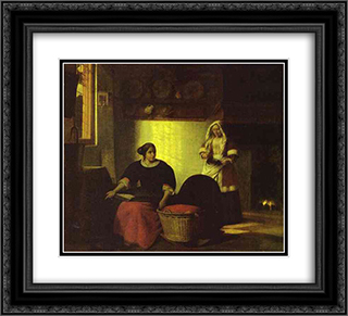 A sick child 22x20 Black or Gold Ornate Framed and Double Matted Art Print by Pieter de Hooch