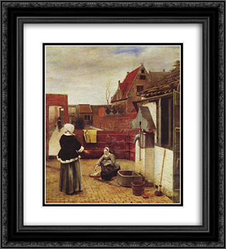 A Woman and a Maid in a Courtyard 20x22 Black or Gold Ornate Framed and Double Matted Art Print by Pieter de Hooch