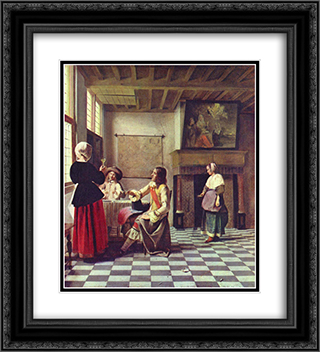 A Woman Drinking with Two Men 20x22 Black or Gold Ornate Framed and Double Matted Art Print by Pieter de Hooch