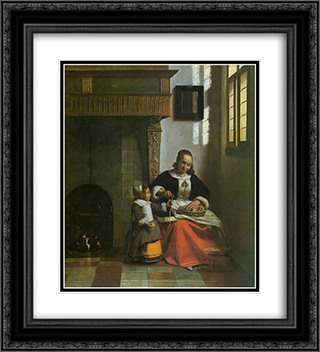 A Woman Peeling Apples 20x22 Black or Gold Ornate Framed and Double Matted Art Print by Pieter de Hooch