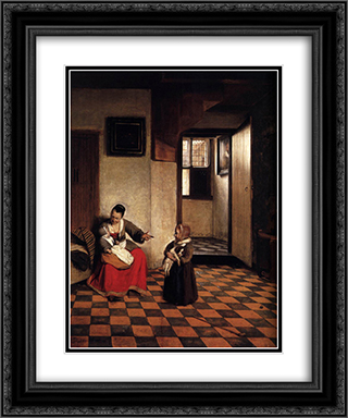 A Woman with a Baby in Her Lap, and a Small Child 20x24 Black or Gold Ornate Framed and Double Matted Art Print by Pieter de Hooch