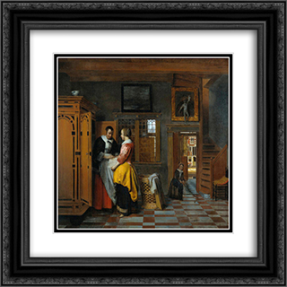 At the Linen Closet 20x20 Black or Gold Ornate Framed and Double Matted Art Print by Pieter de Hooch
