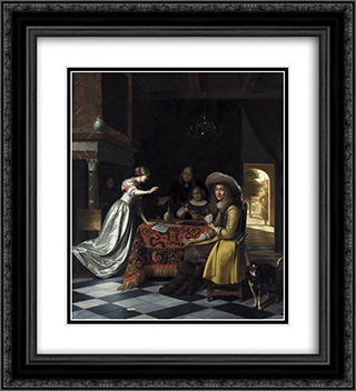 Card Players at a Table 20x22 Black or Gold Ornate Framed and Double Matted Art Print by Pieter de Hooch