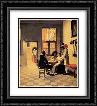 Cardplayers 20x22 Black or Gold Ornate Framed and Double Matted Art Print by Pieter de Hooch