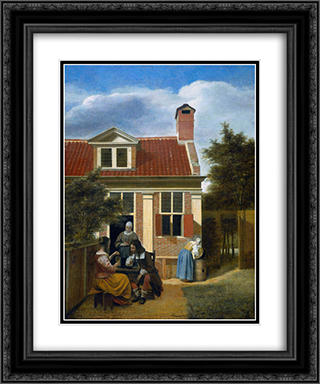 Company in garden 20x24 Black or Gold Ornate Framed and Double Matted Art Print by Pieter de Hooch