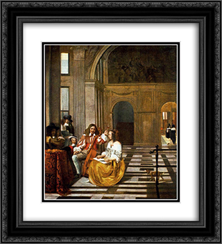 Company Making Music 20x22 Black or Gold Ornate Framed and Double Matted Art Print by Pieter de Hooch