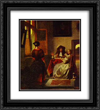 Concert 20x22 Black or Gold Ornate Framed and Double Matted Art Print by Pieter de Hooch