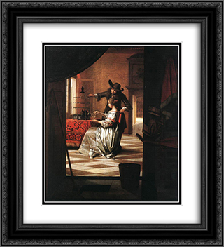 Couple with Parrot 20x22 Black or Gold Ornate Framed and Double Matted Art Print by Pieter de Hooch
