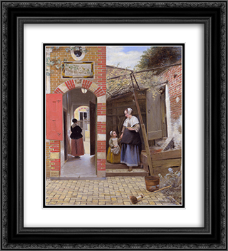 Courtyard of a house in Delft 20x22 Black or Gold Ornate Framed and Double Matted Art Print by Pieter de Hooch