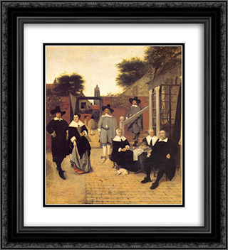 Dutch family 20x22 Black or Gold Ornate Framed and Double Matted Art Print by Pieter de Hooch