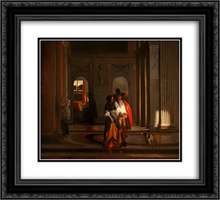 Going for the Walk 22x20 Black or Gold Ornate Framed and Double Matted Art Print by Pieter de Hooch