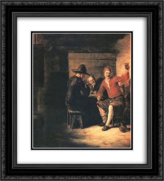 Happy drinker 20x22 Black or Gold Ornate Framed and Double Matted Art Print by Pieter de Hooch