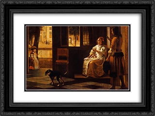 Interior 24x18 Black or Gold Ornate Framed and Double Matted Art Print by Pieter de Hooch