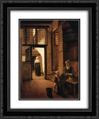 Interior of a Dutch House 20x24 Black or Gold Ornate Framed and Double Matted Art Print by Pieter de Hooch