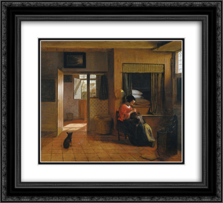 Interior with a Mother delousing her Child 22x20 Black or Gold Ornate Framed and Double Matted Art Print by Pieter de Hooch