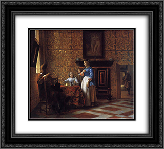 Interior with Figures 22x20 Black or Gold Ornate Framed and Double Matted Art Print by Pieter de Hooch