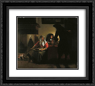 Interior with Two Gentleman and a Woman Beside a Fire 22x20 Black or Gold Ornate Framed and Double Matted Art Print by Pieter de Hooch