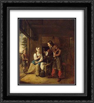 Man Offering a Glass of Wine to a Woman 20x22 Black or Gold Ornate Framed and Double Matted Art Print by Pieter de Hooch