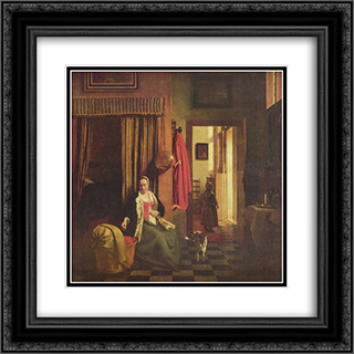 Mother at the cradle 20x20 Black or Gold Ornate Framed and Double Matted Art Print by Pieter de Hooch