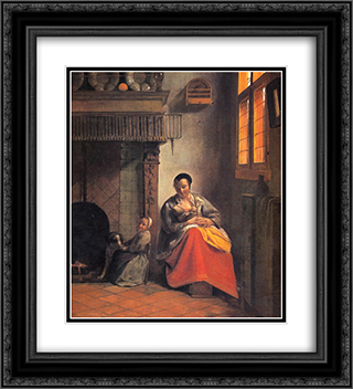 Nursing mother 20x22 Black or Gold Ornate Framed and Double Matted Art Print by Pieter de Hooch