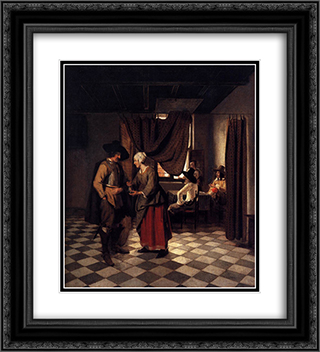 Paying the Hostess 20x22 Black or Gold Ornate Framed and Double Matted Art Print by Pieter de Hooch