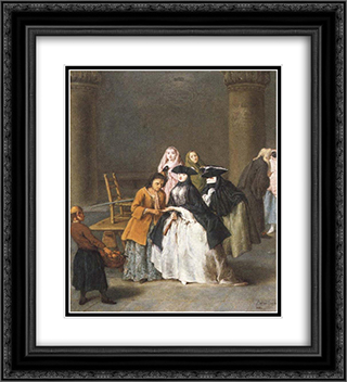 A Fortune Teller at Venice 20x22 Black or Gold Ornate Framed and Double Matted Art Print by Pietro Longhi