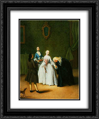 A nobleman kissing lady's hand 20x24 Black or Gold Ornate Framed and Double Matted Art Print by Pietro Longhi