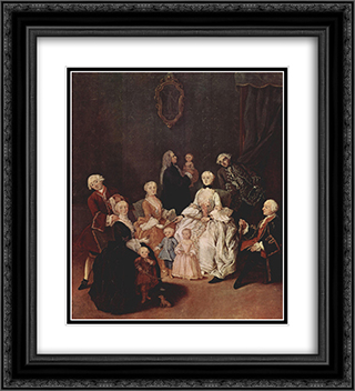 A Patrician Family 20x22 Black or Gold Ornate Framed and Double Matted Art Print by Pietro Longhi